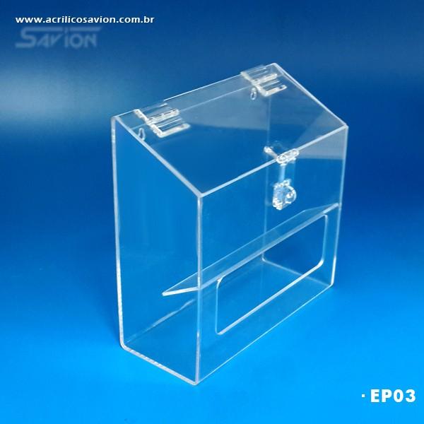 EP03-Caixa em Acrilico para EPI 25x10x25 cm