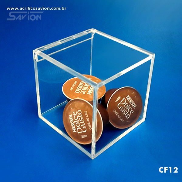 CF12 Caixa Em Acrílico com tampa 13x13x13 Cm