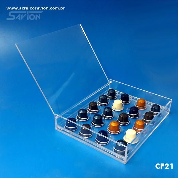 CF21 Caixa Em Acrílico Para Cápsulas de Café 20 Unids. 22x27x5 Cm