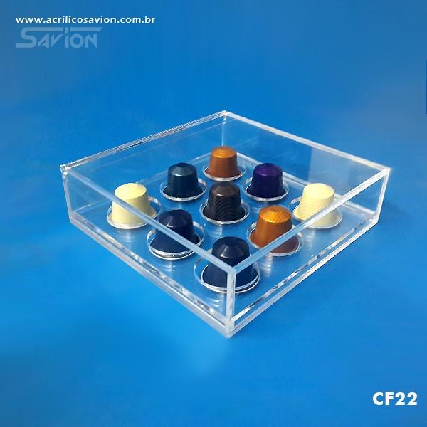 CF22 Caixa Em Acrílico Para Cápsulas de Café 9 Unids. 18x18x5 Cm