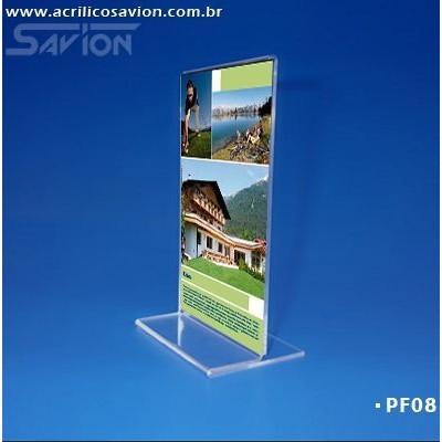 PF08-Porta Folheto de mesa 10x15 cm Dupla Face