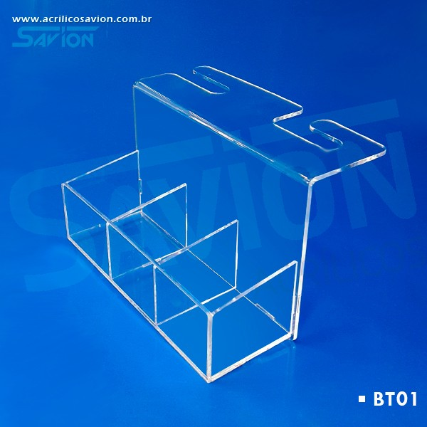 BT01 Bandeja Em Acrilico Para Encosto Banco Taxi 9x25x15 Cm