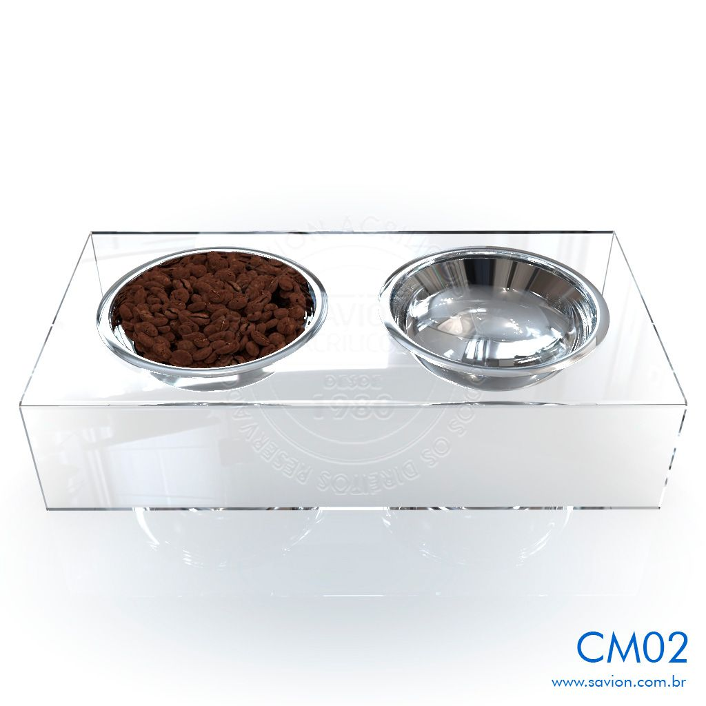 CM02-Comedouro e Bebedouro em acrílico para Pet