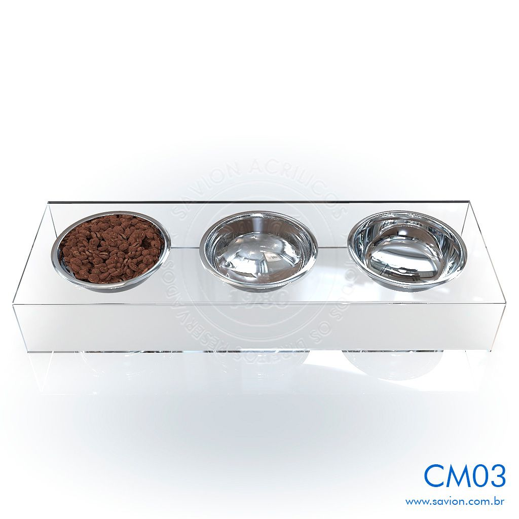 CM03-Comedouro e Bebedouro em acrílico para Pet