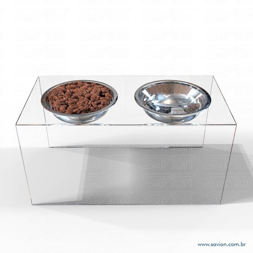 CM04-Comedouro e Bebedouro em acrílico para Pet