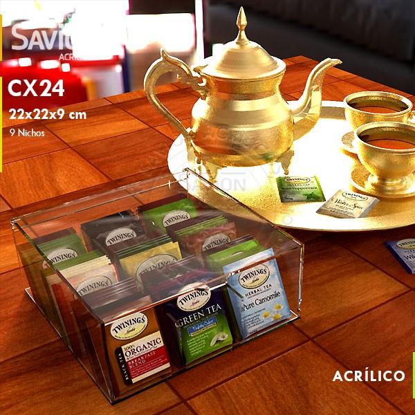 CX24 Caixa de Chá Com Tampa 9 Nichos 22x22x9 Cm