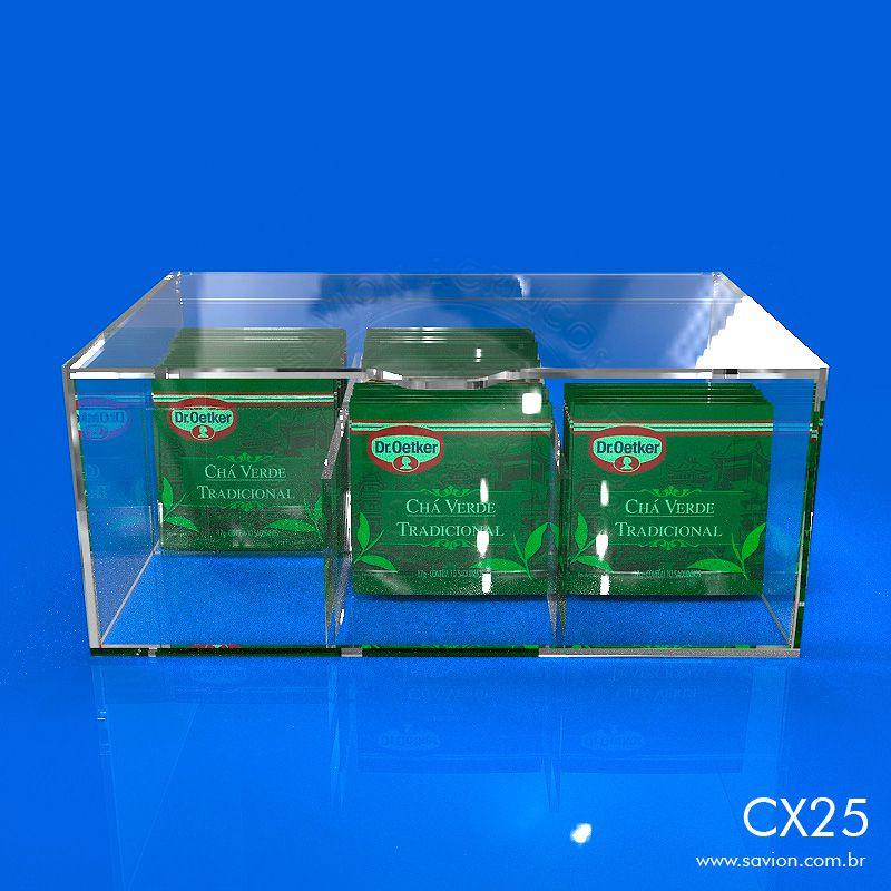 CX25 Caixa Acrilico Com Tampa 6 Nichos 22x15x9 Cm