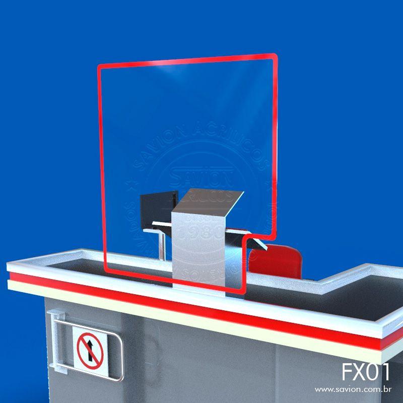 FX01-Proteção em Acrílico para Balcões e Caixas