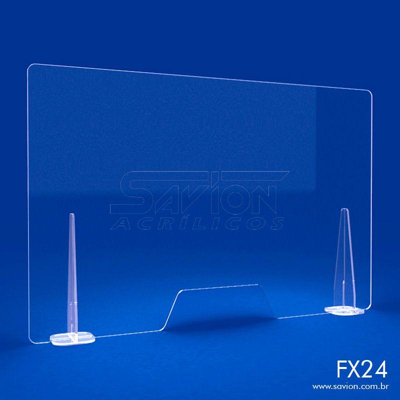 FX24- Divisória de Acrílico para Mesa e Balcão 100x66 cm
