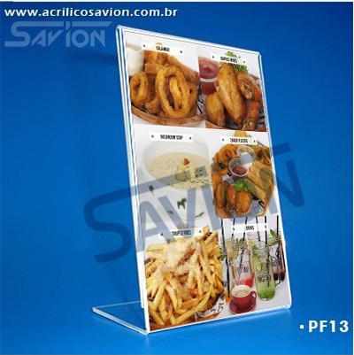 PF13-Porta Folheto de mesa 15x22 cm A5  - Savion Acrilicos