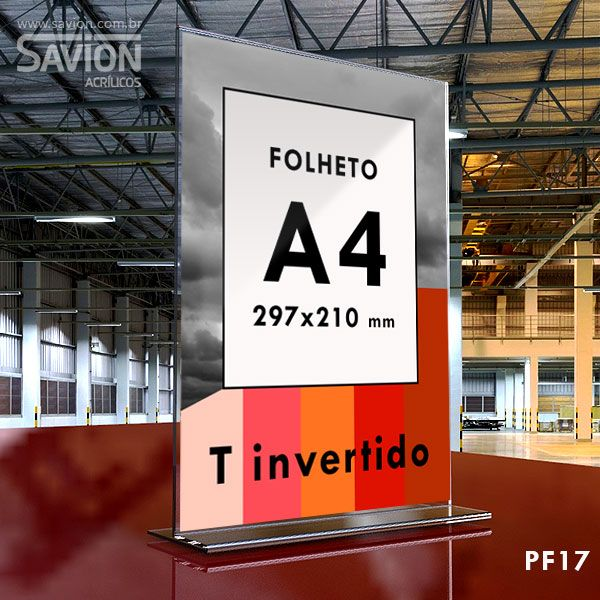 PF17-Porta Folheto de mesa 22x30 cm A4 Dupla Face