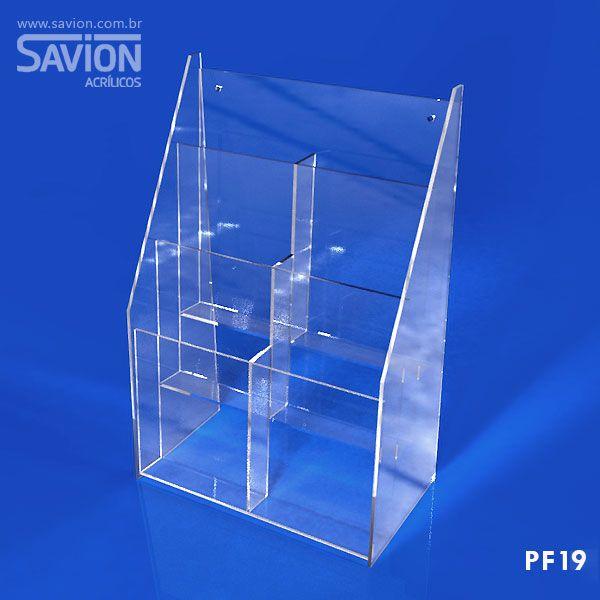 PF19-Porta Folheto de mesa/parede 6 1/3 A4