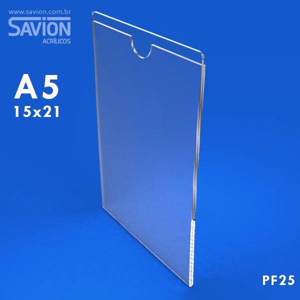 PF25-Porta Folheto de Parede 15x22 Cm A5 Vertical