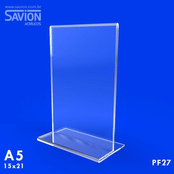 PF27-Porta Folheto de mesa 15x22 cm A5 Dupla Face  - Savion Acrilicos
