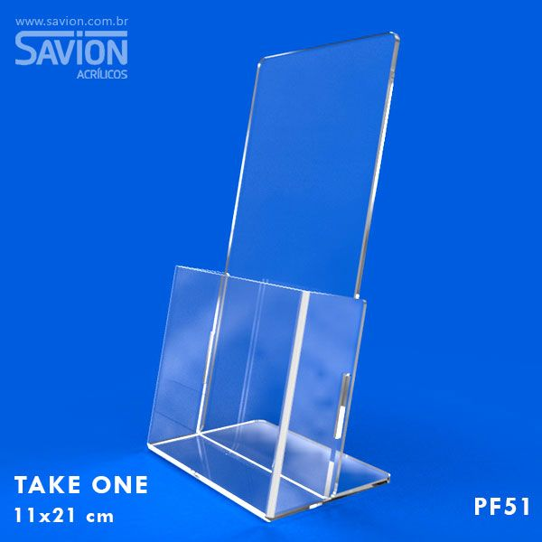 PF51-Porta Folheto de mesa com bolso 11x22 cm 1/3 A4
