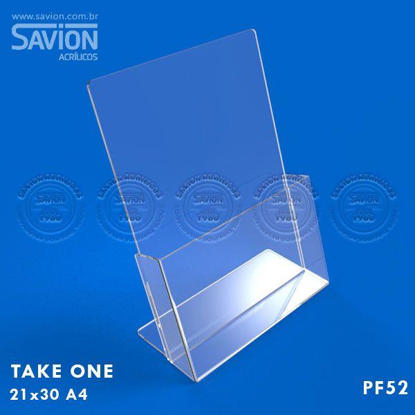 PF52-Porta Folheto de mesa com bolso 22x30 cm A4