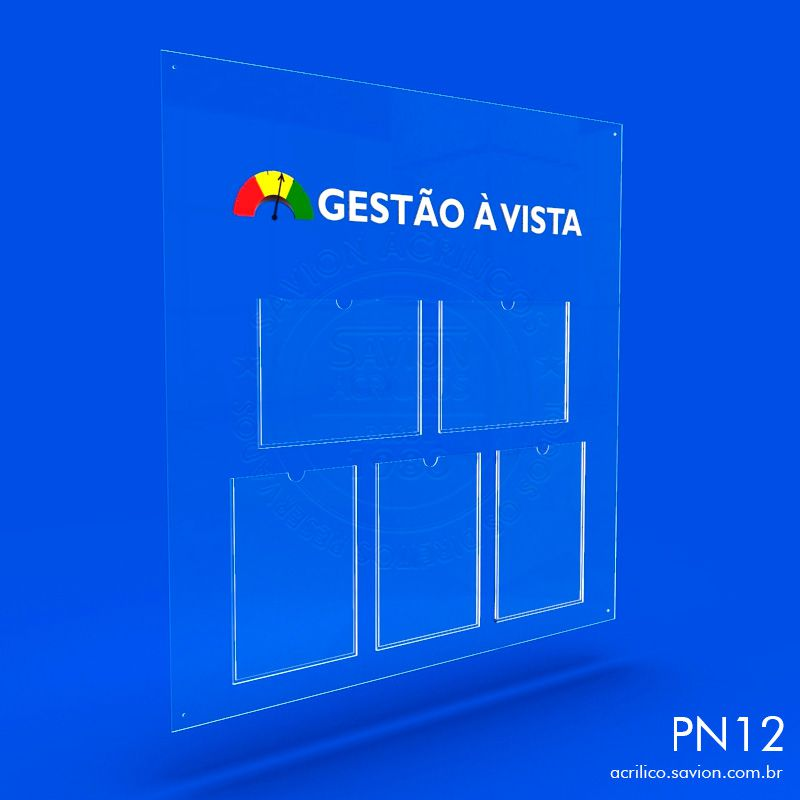 PN11-Painel informativo com 3 bolsas A4 vertical Sem gravação 80X50 cm