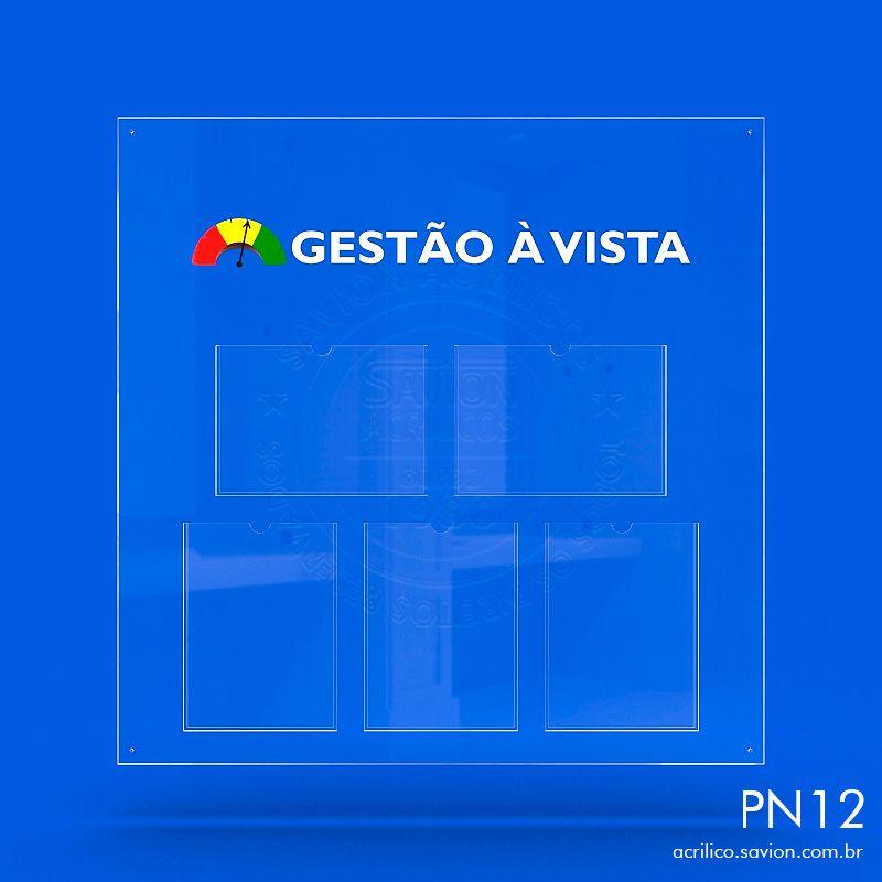 PN12-Painel Informativo 5 Bolsas A4 Sem gravação 95x95 cm