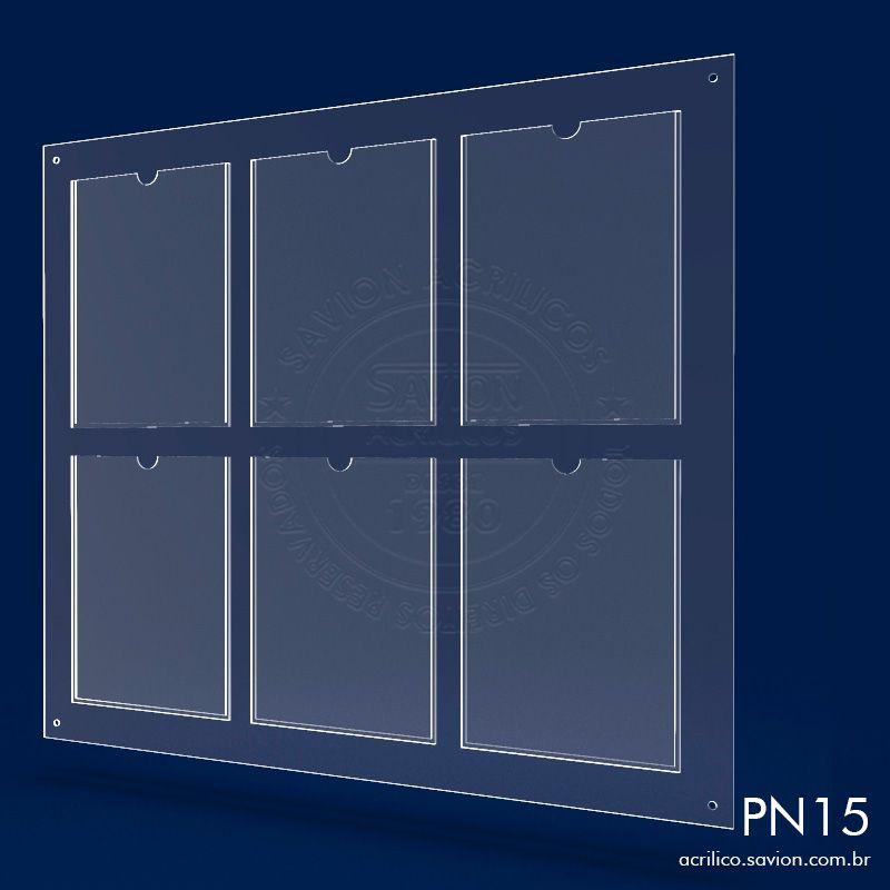 PN15-Painel informativo com 6 bolsas A4 vertical Sem gravação 85X75 cm
