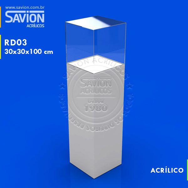 TT15 - Totem Coluna com tampa transparente 30x30x130 cm