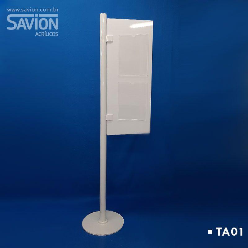 TA01 Totem Bandeira Com Suporte A4 Duplo 40x40x170 Cm