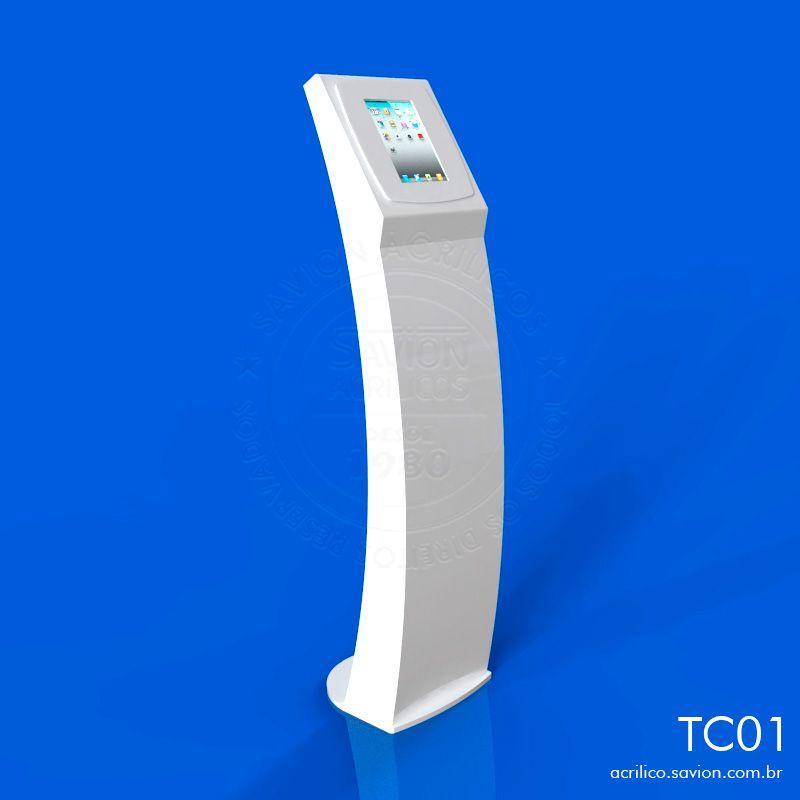 TC01-Totem Em Acrilico Para Ipad 35x40x160 Cm