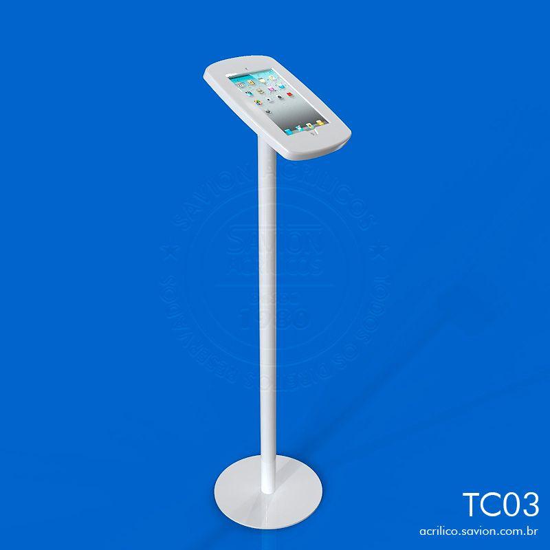 TC03-Display de Piso Para Ipad Em Acrilico Com Acesso 30x30x110 Cm