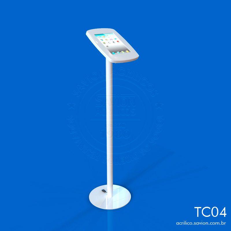 TC04-Display de Piso Para Ipad Em Acrilico 30x30x110 Cm