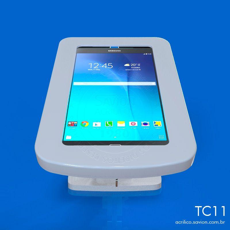 TC11-Suporte Em Acrilico Mesa e Parede Para Tablet Samsung Tab-E SM T561M