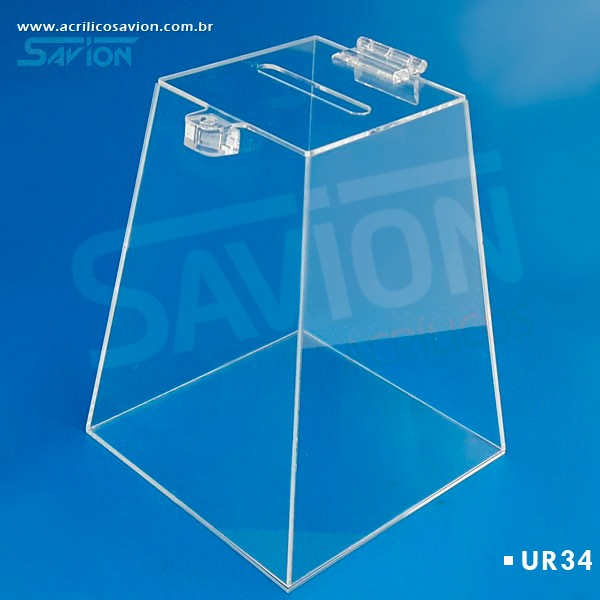 UR34-Urna Pirâmide Pequena C16xp16xa20 Cm 200 Cupons