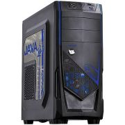 Gabinete MID Tower Java BR S/ Fonte C/ 01 FAN LED AZUL Frontal e 01 FAN Traseiro