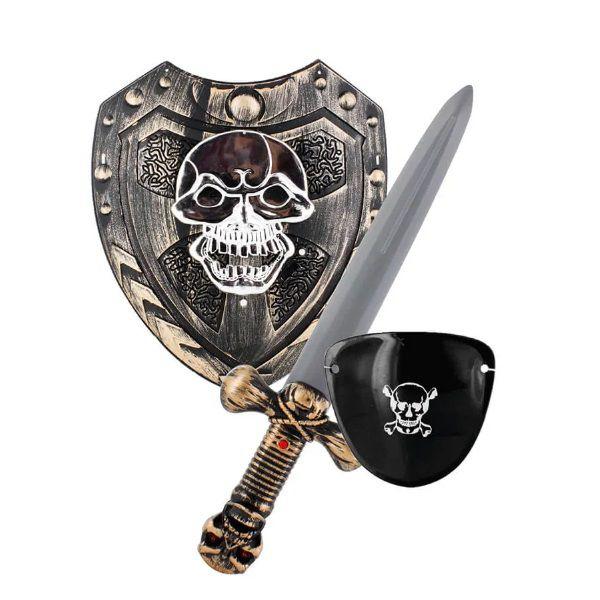 Cavaleiros e Guerreiros Piratas Com Escudo + Tapa Olho + 1 Espada Cinza Multikids- BR792