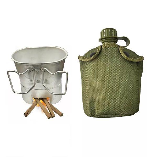 Cantil Militar Com Caneca E Espiriteira De Alumínio Apache 1 Litro Nautika