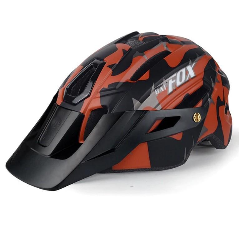 Capacete Ciclismo MTB Bat Fox Camuflado Com Led 58 a 61cm