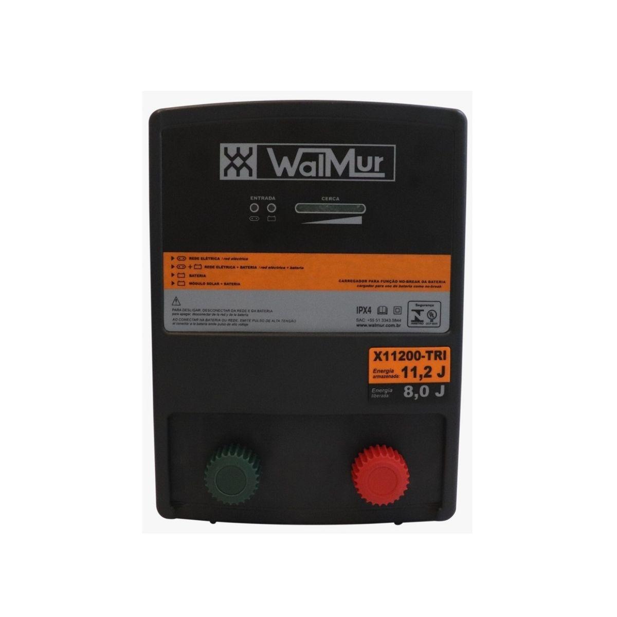 Eletrificador Rural Cerca Elétrica X11200-TRI Walmur 12V 110-220V Solar