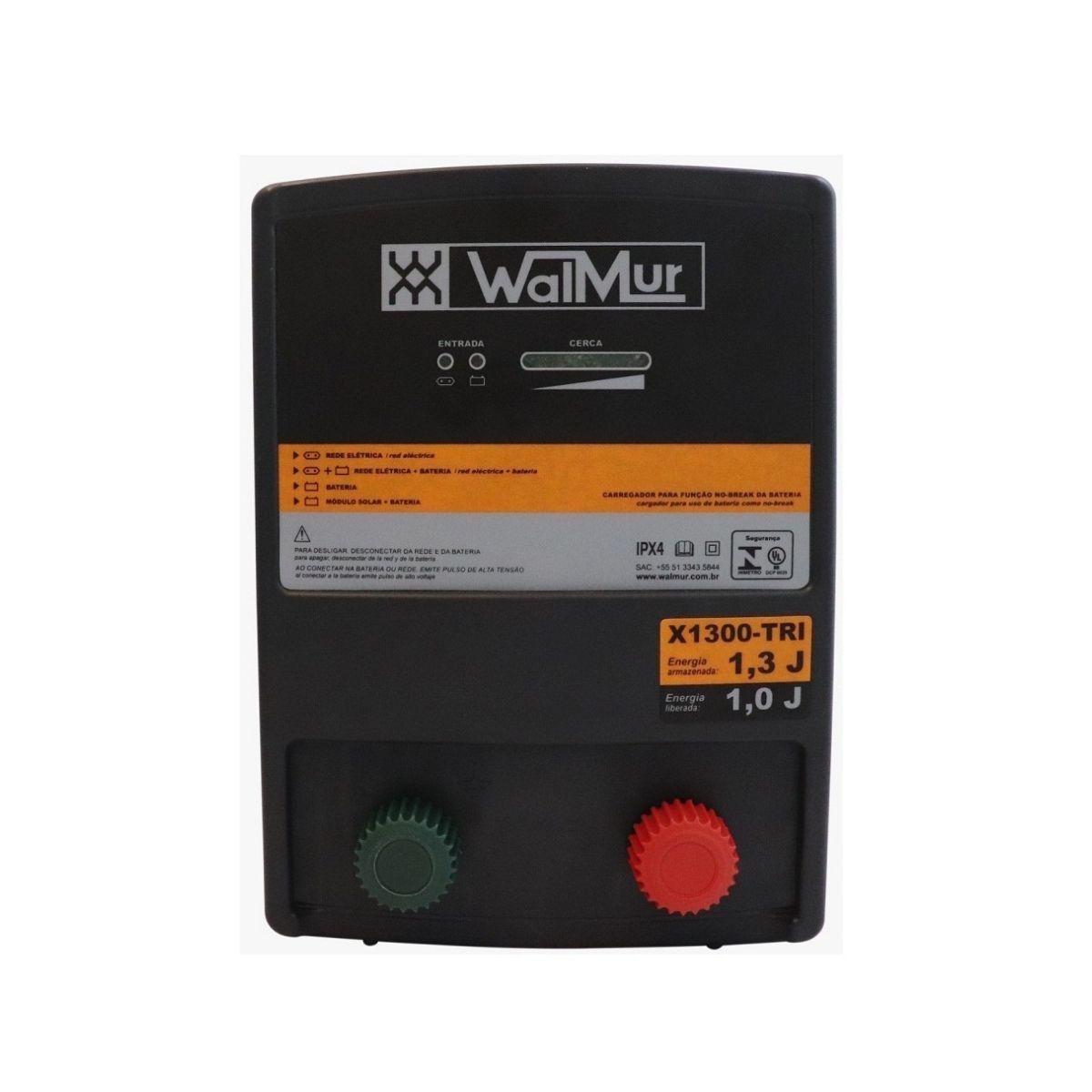 Eletrificador Rural Cerca Elétrica X1300-TRI Walmur 12V 110-220V Solar