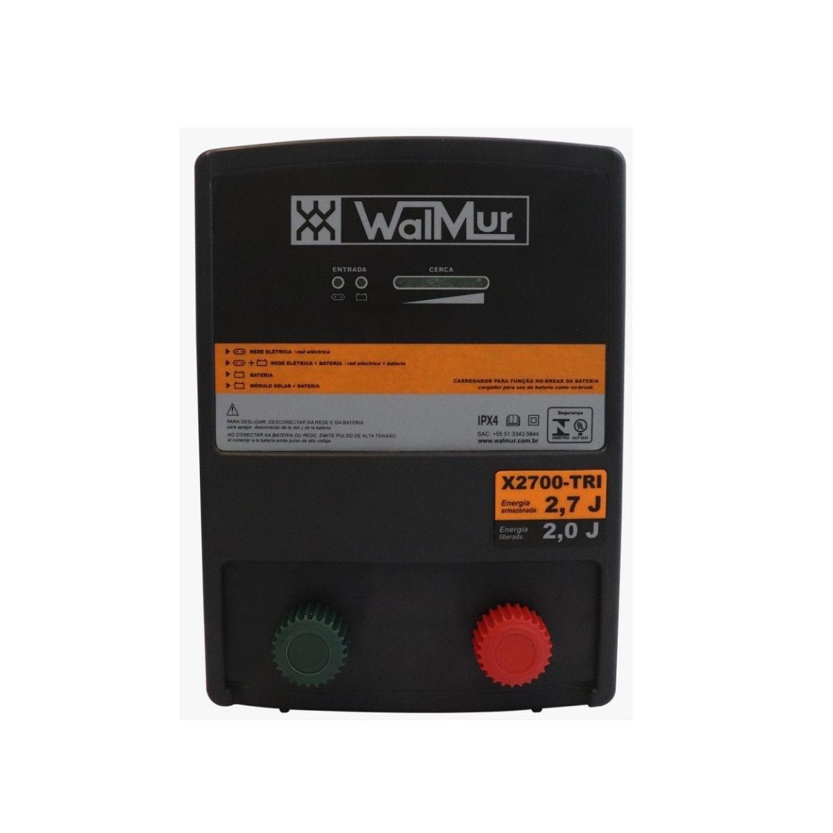 Eletrificador Rural Cerca Elétrica X2700-TRI Walmur 12V 110-220V Solar