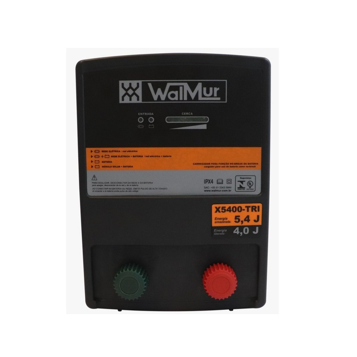 Eletrificador Rural Cerca Elétrica X5400-TRI Walmur 12V 110-220V Solar