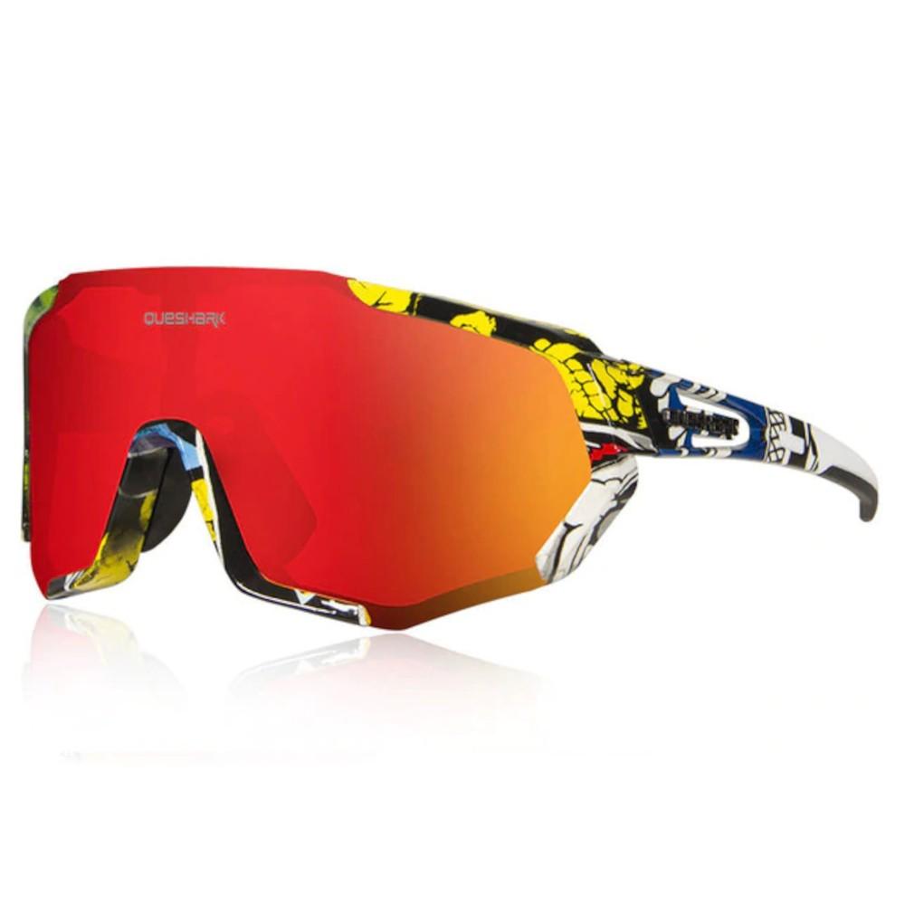 Óculos Polarizado Ciclismo Queshark Color 3 Lentes + Clip