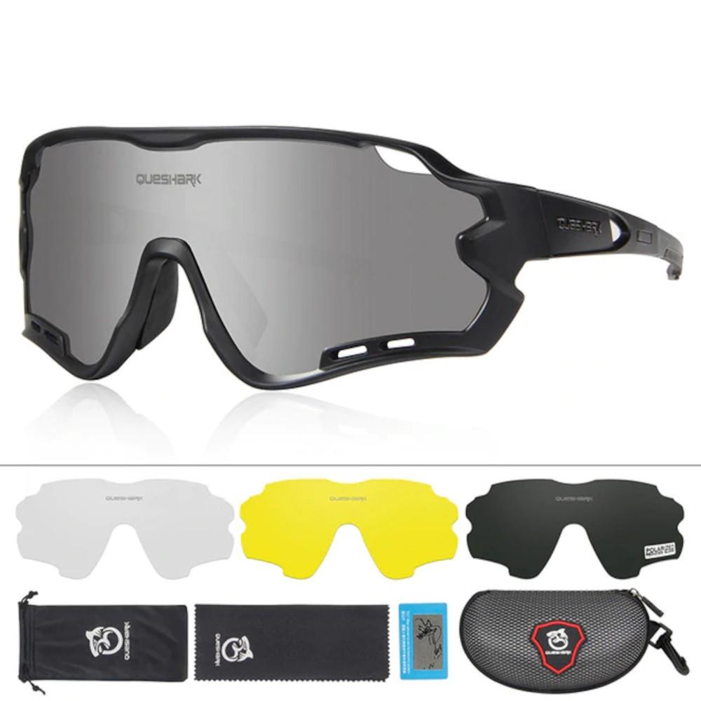 Óculos Polarizado Ciclismo Queshark QE44 4 Lentes + Case