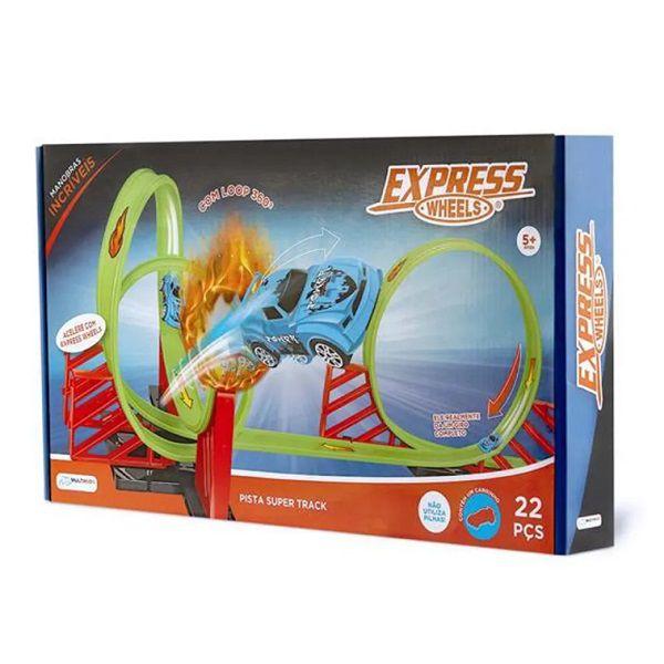 Pista Super Track Loop 360º Express Wheels 22 Peças Multikids - BR1016