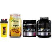 Combo Massa Muscular 6 - Colágeno 300mg - 180 Cápsulas - Fitoway + BCAA Powder - 200g - Probiótica + 3W Whey Protein - 2,26Kg - Probiótica + Coqueteleira Shaker - 600ml - Universal