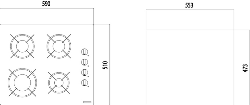 94703/101 Cooktop Square 4GG 60 Tramontina  - COLAR
