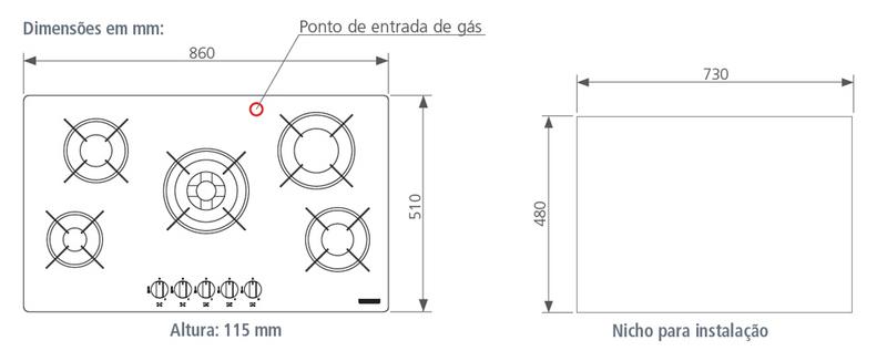 Cooktop Glass Penta Plus 5GG Tri 90 - Tramontina  - COLAR