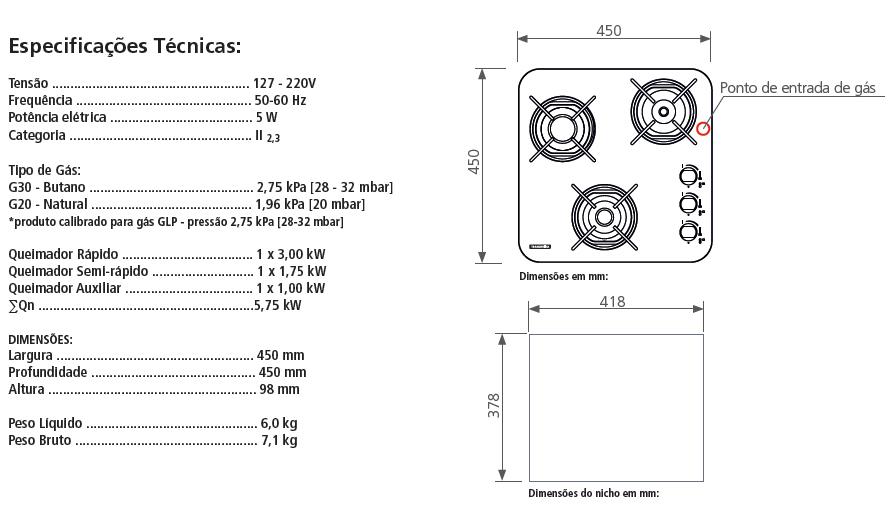Cooktop Glass Brasil 3GG 45 - Tramontina  - COLAR