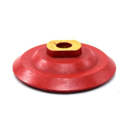 """Suporte de Lixa 4"""" Borracha com velcro M14 Vermelho Dm  - COLAR"""