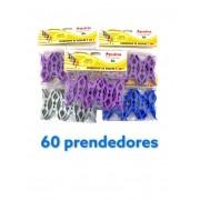 Kit 60 Prendedores Pregadores de Roupa 5 em 1 Coloridos