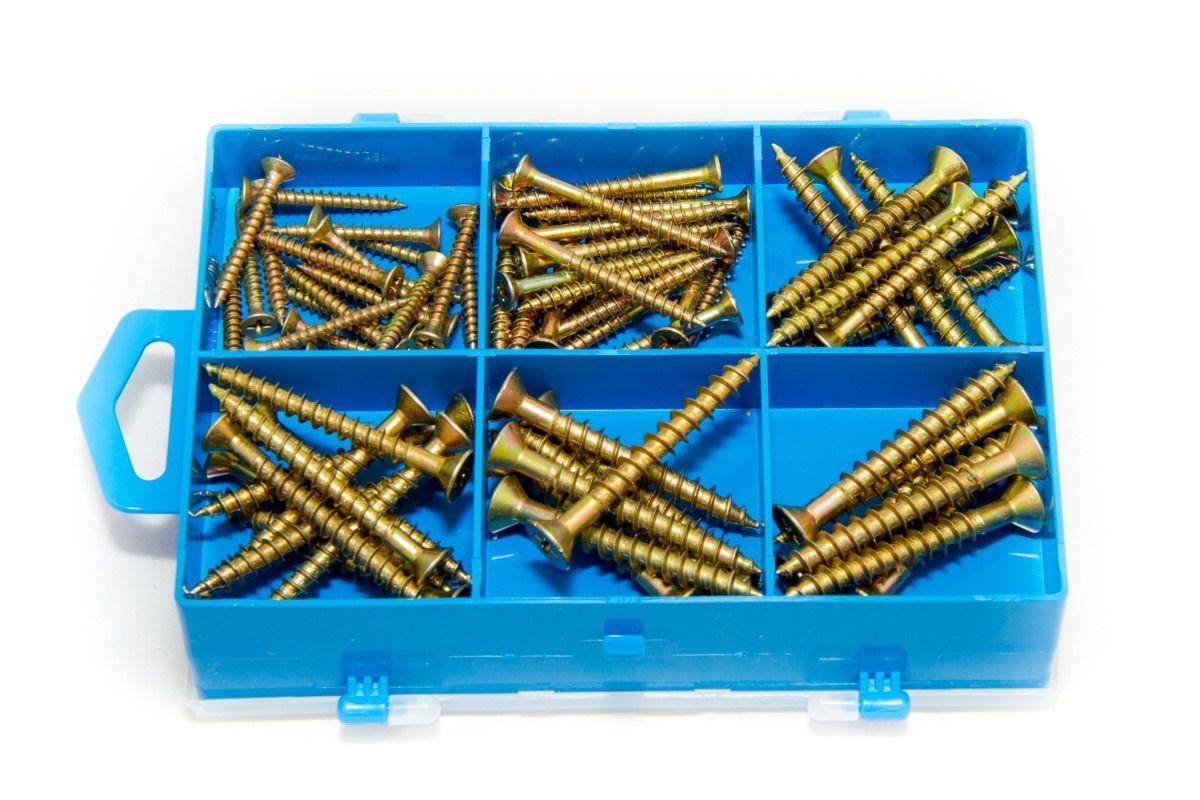 2 Kits com 1311 peças Parafusos Rosca Máquina e Bicromatizado, Porca, Arruela, Prego, Gancho e Escápula