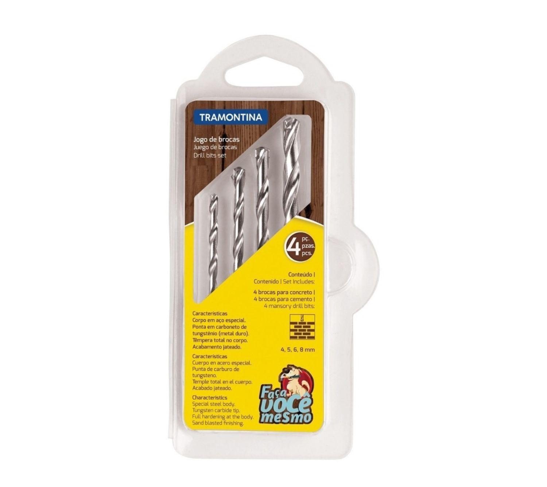 Kit de Brocas de Vídea para concreto Tramontina 4, 5, 6 E 8 mm