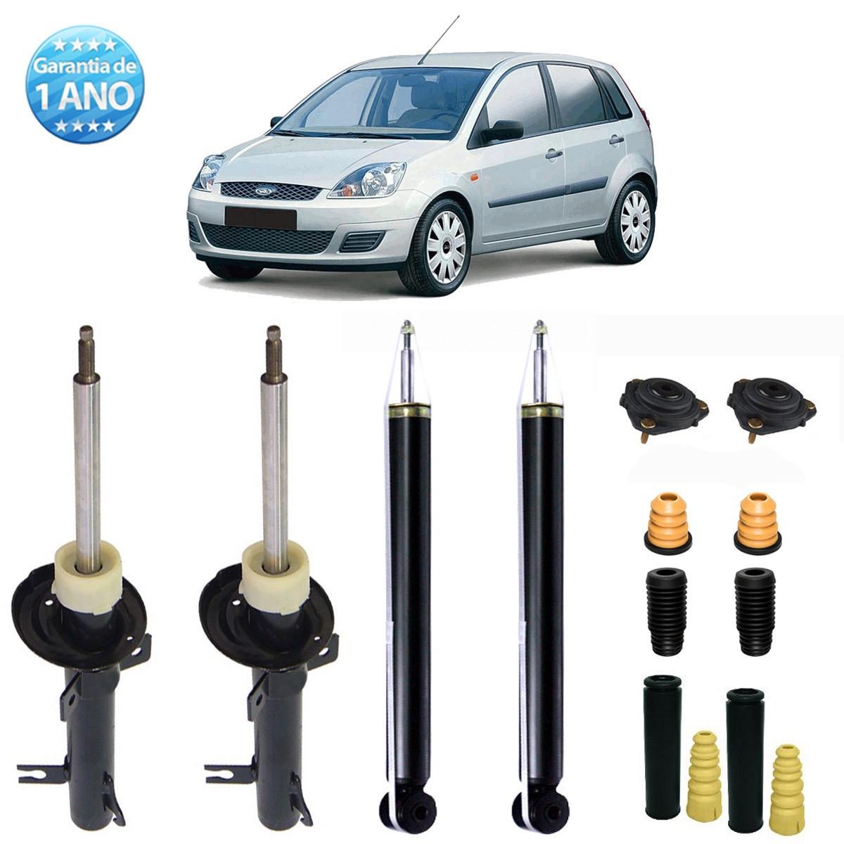 04 Amortecedores Remanufaturados Ford Fiesta Hatch e Sedan 2003 Até 2013 + Kit da Suspensão